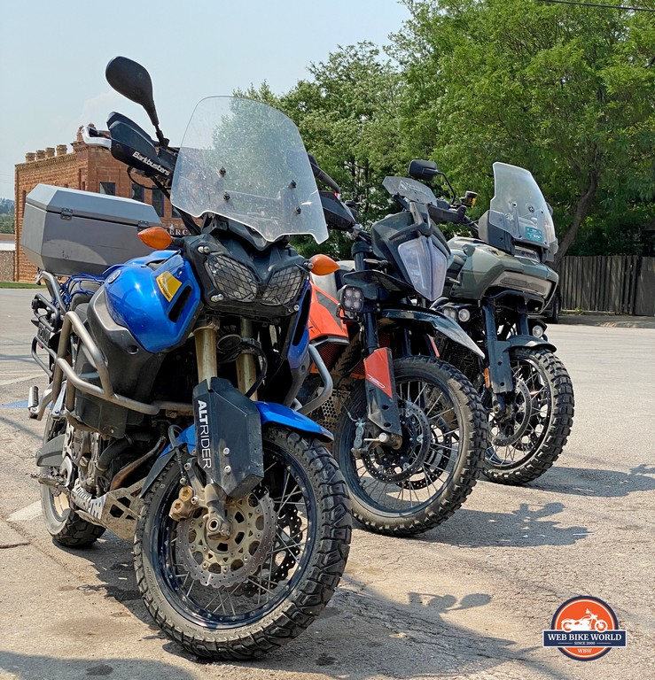 A Yamaha Super Tenere, KTM 790 Adventure, and a Harley Davidson Pan America Special.