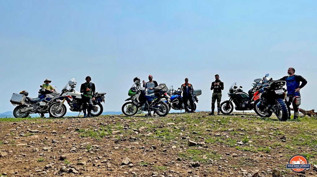 A mixed group of adventure motorcycles together in the Black Hills of South Dakota.