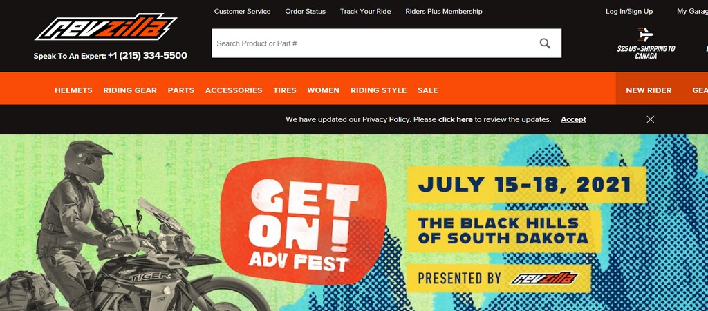 A screenshot of the Revzilla events webpage.