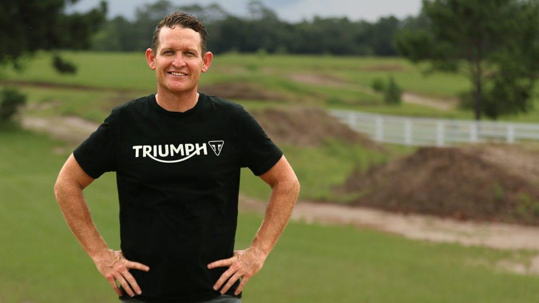 a view of Ricky Carmichael, posing for the Carmichael/Triumph partnership