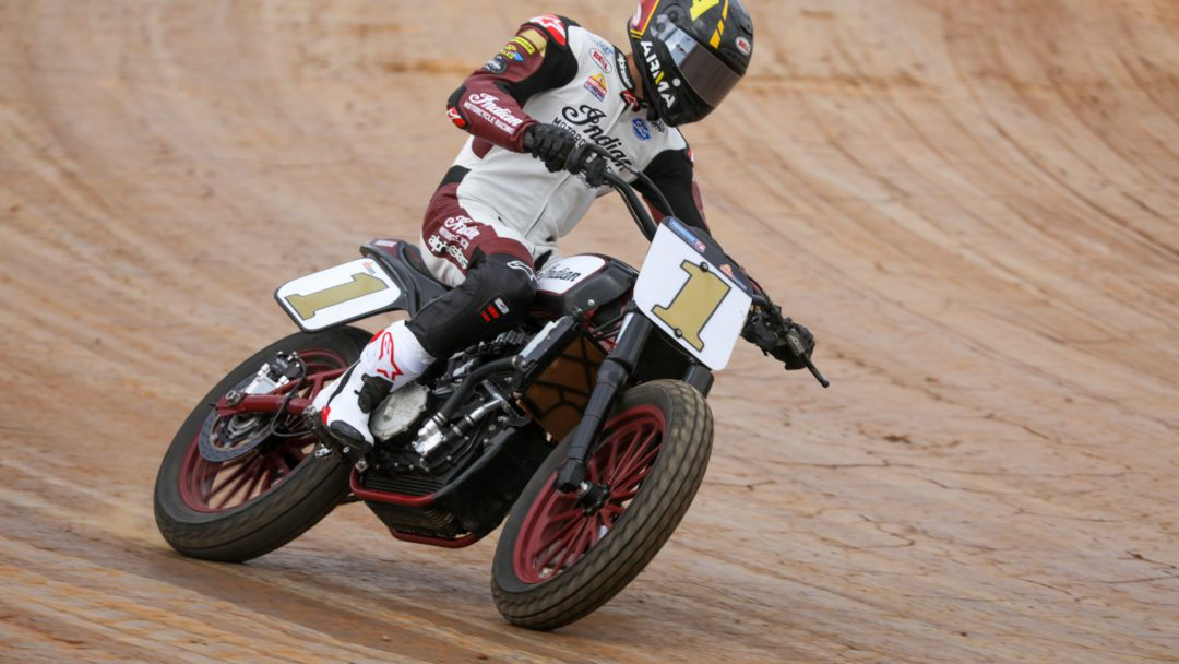 A view of Indian Motorcycle Racing SuperTwins Champion and Wrecking Crew member, Briar Bauman, with a motorcycle