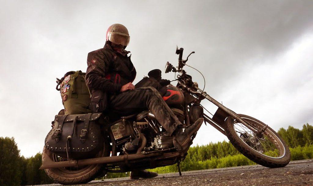 Doug Wothke riding a 1962 Harley Davidson chopper around the world.