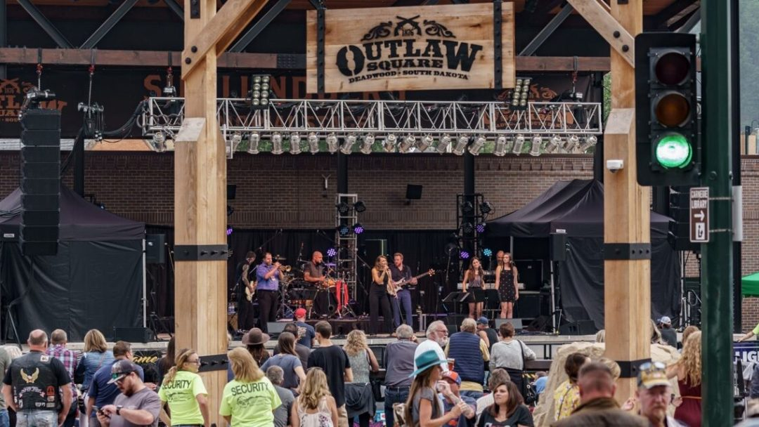 A front view of the stage present at the Harley Davidson Outlaw Square in Deadwood, South Dakota