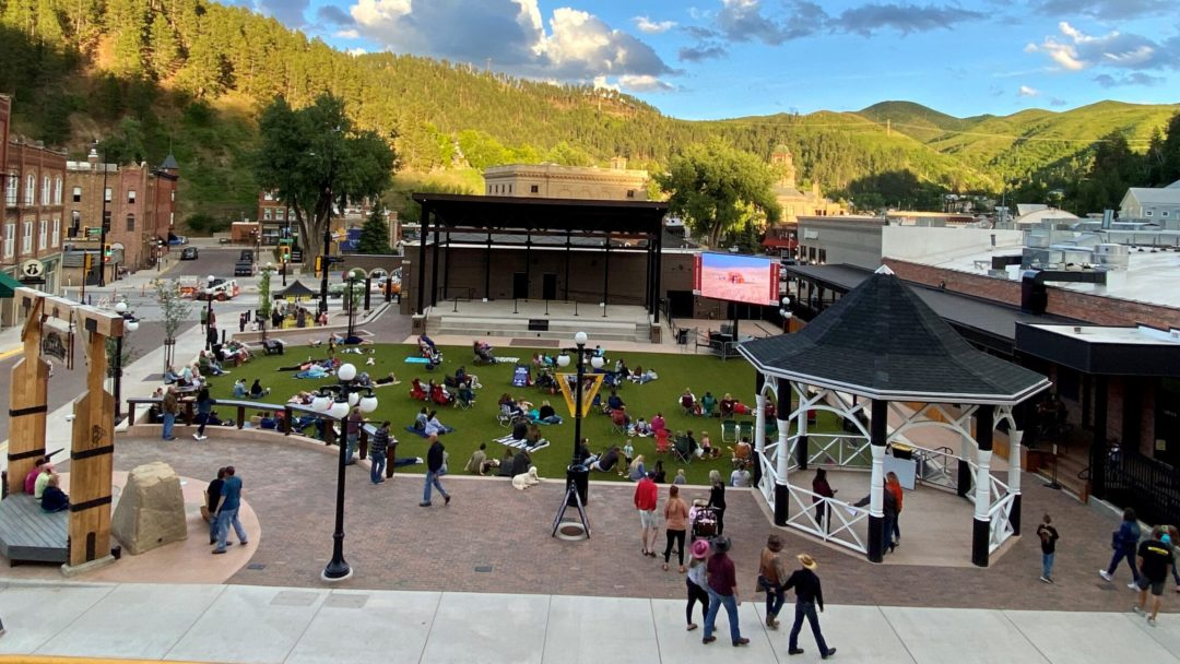 a view of Harley Davidson's Outlaw Square in Deadwood, South Dakota