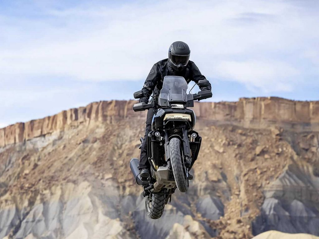 A view of a rider tricking out on the all-new Harley Davidson Pan America