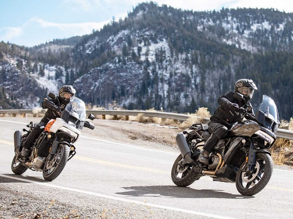 A view of two riders enjoying the all-new Harley Davidson Pan America