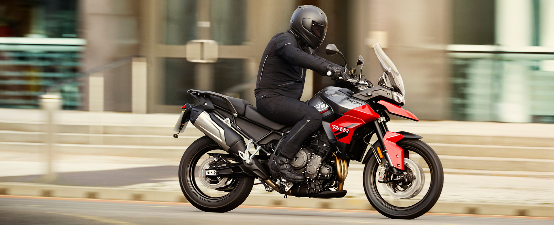 A view of a rider enjoying the 2021 Triumph Tiger 850