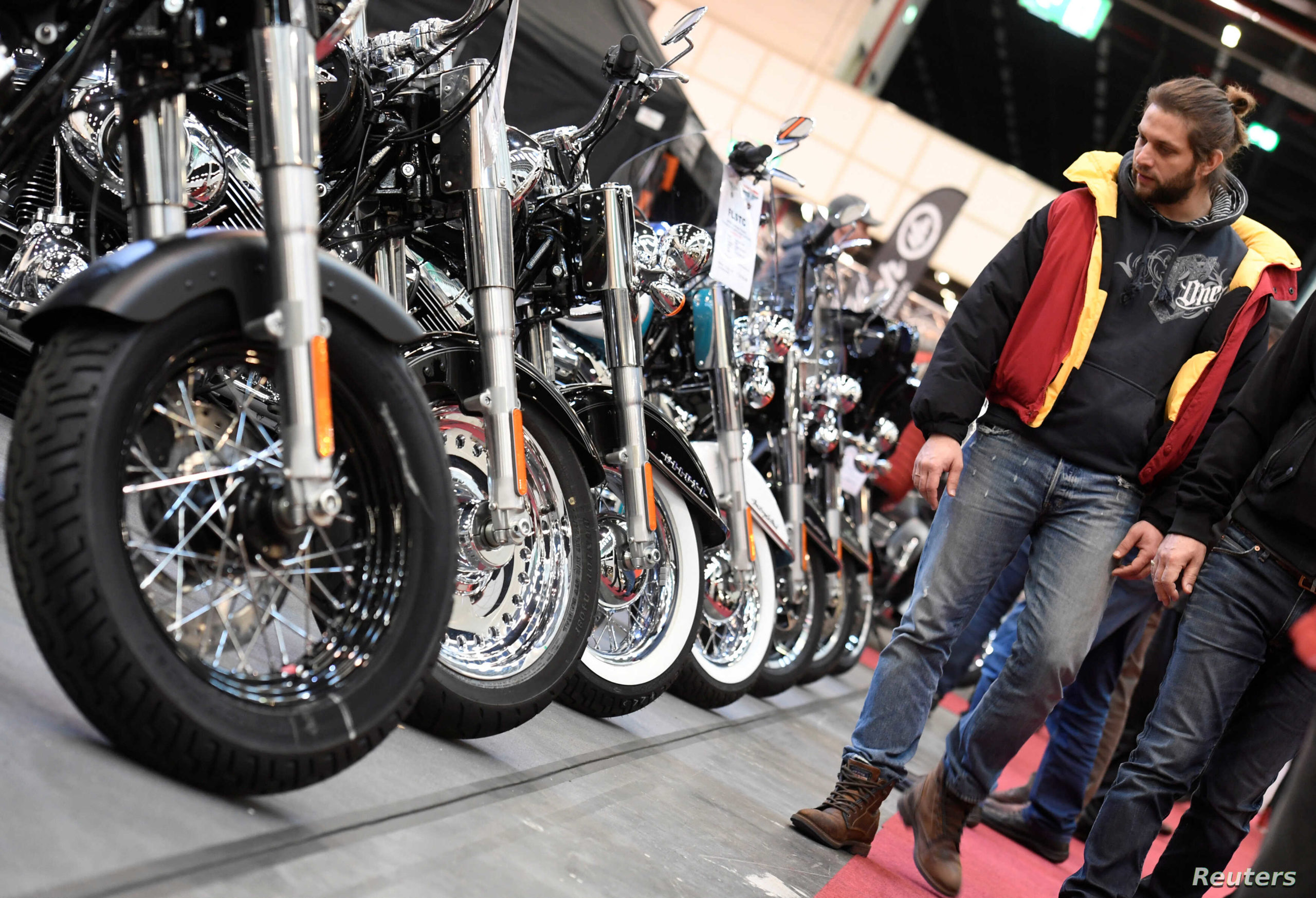 A view of Harley-Davidson motorcycles lined up in Europe.