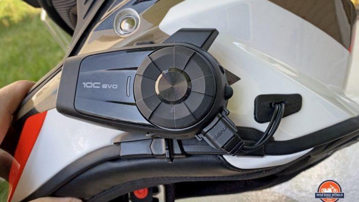 A Sena 10C Evo installed in a BMW GS Pure helmet.