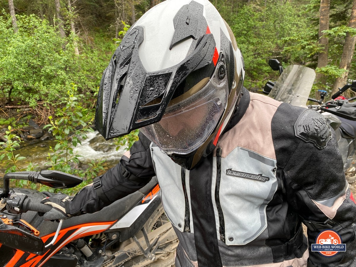 Riding in the rain was a good test for the BMW GS Pure helmet.
