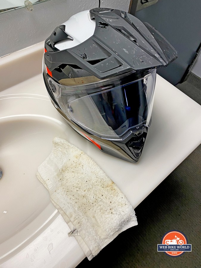 A BMW GS Pure helmet after having bug guts cleaned off the visor.
