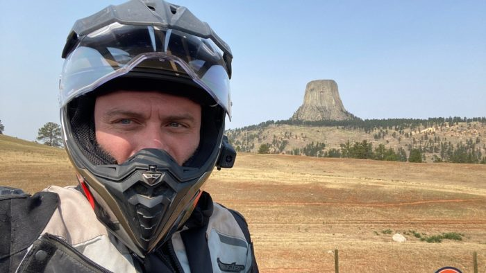 I visited the Devil's Tower in Wyoming while wearing the BMW GS Pure helmet.