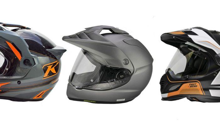 The Klim Krios Pro, Shoei Hornet X2, and Arai XD-4 helmets.