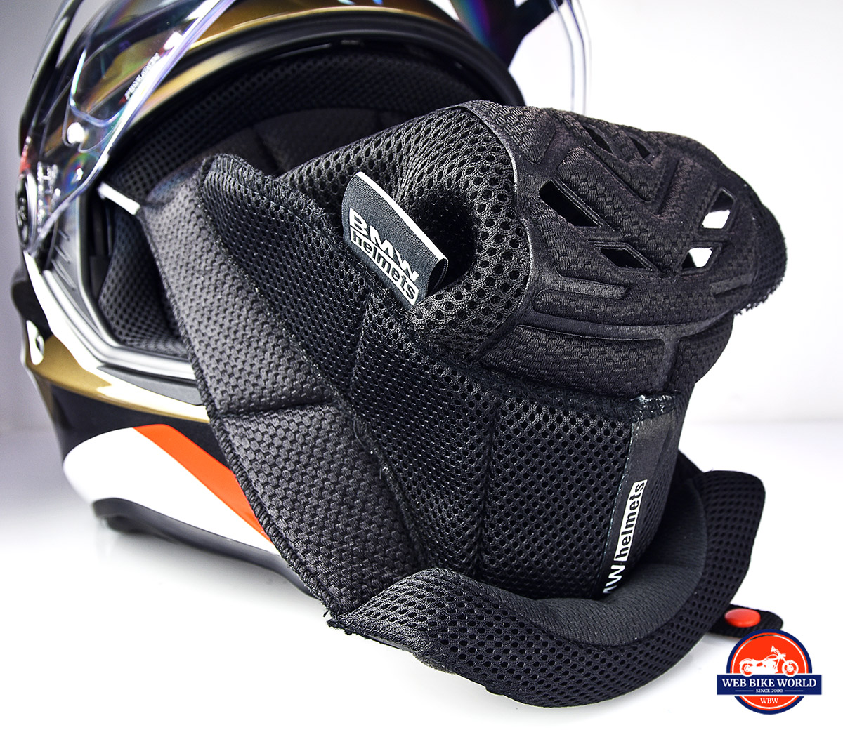 The interior comfort liner of the BMW GS Pure helmet.