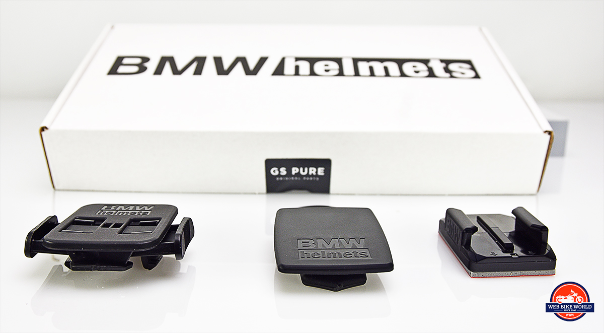 GoPro and other general-purpose camera mounts that come with the BMW GS Pure helmet.
