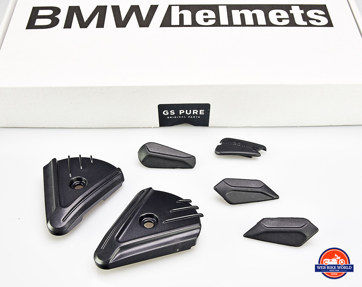 These pieces can be installed to cover mounting holes when the visor and sun peak is removed from the BMW GS Pure helmet.