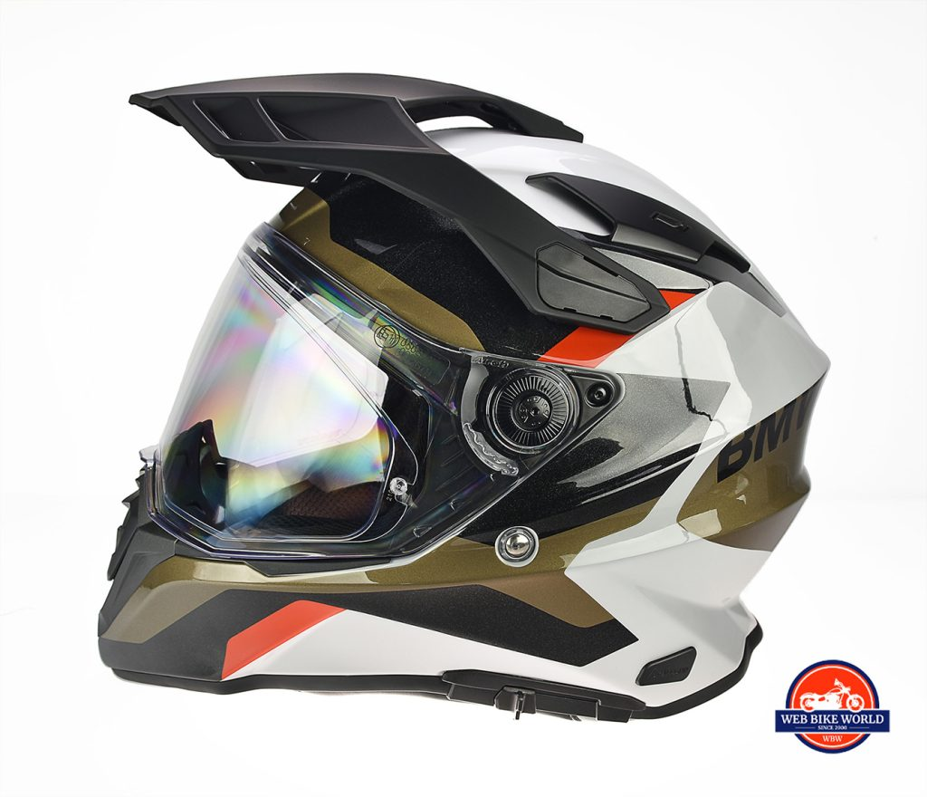 The BMW GS Pure helmet as seen from the left side.