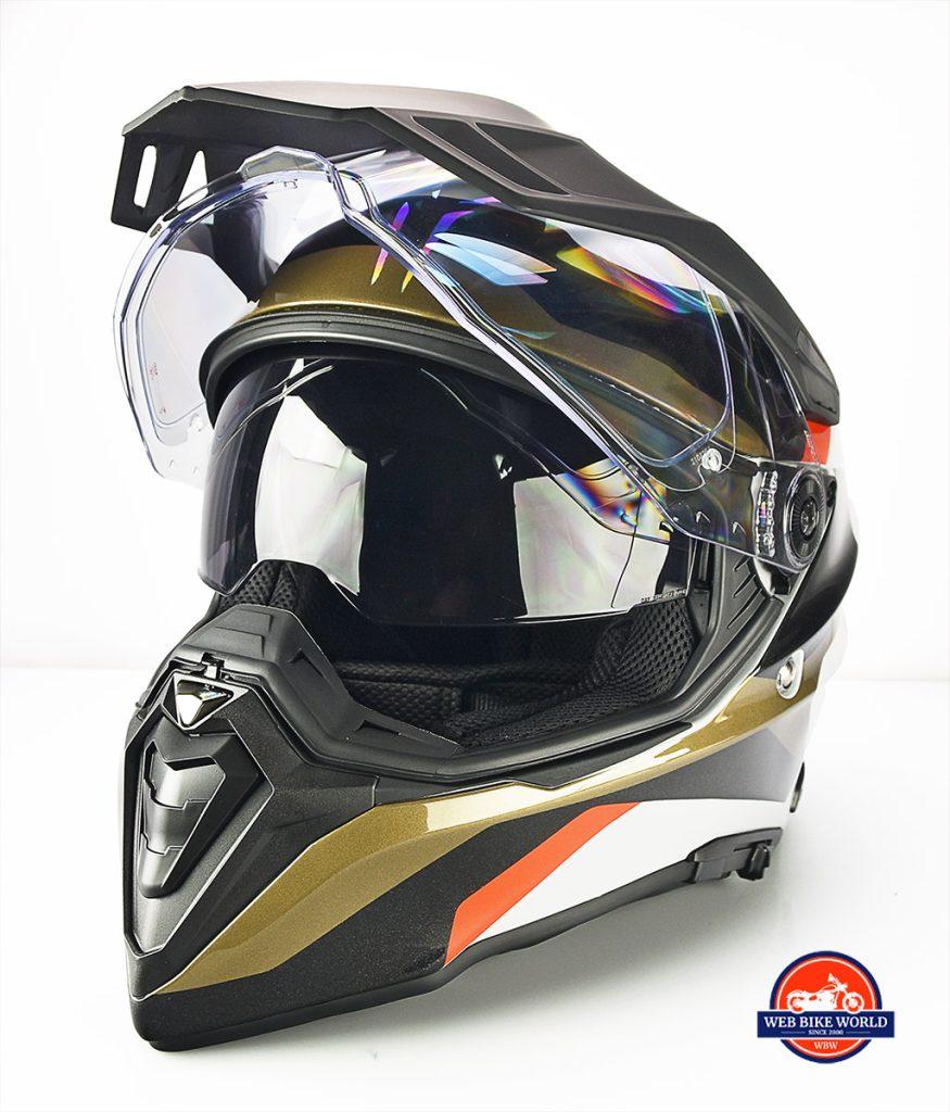 The BMW GS Pure helmet has an integrated sun visor.