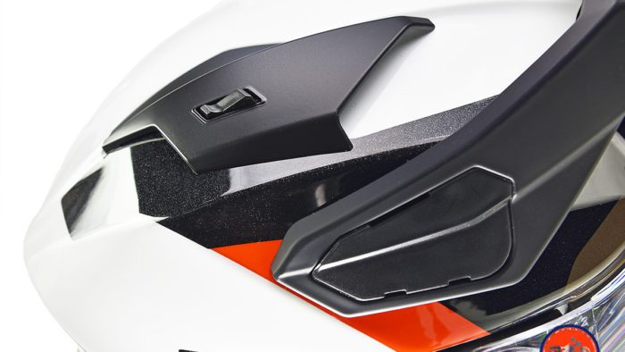 The upper air vents on the BMW GS Pure helmet.