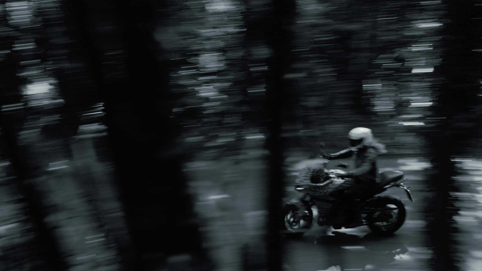 A blurry view of the new Triumph Tiger prototype, features in a Triumph Tiger Tease release from the UK company.
