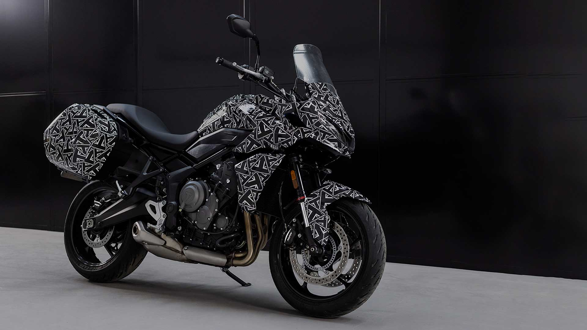 A view of the new Triumph Tiger prototype, features in a Triumph Tiger Tease release from the UK company.