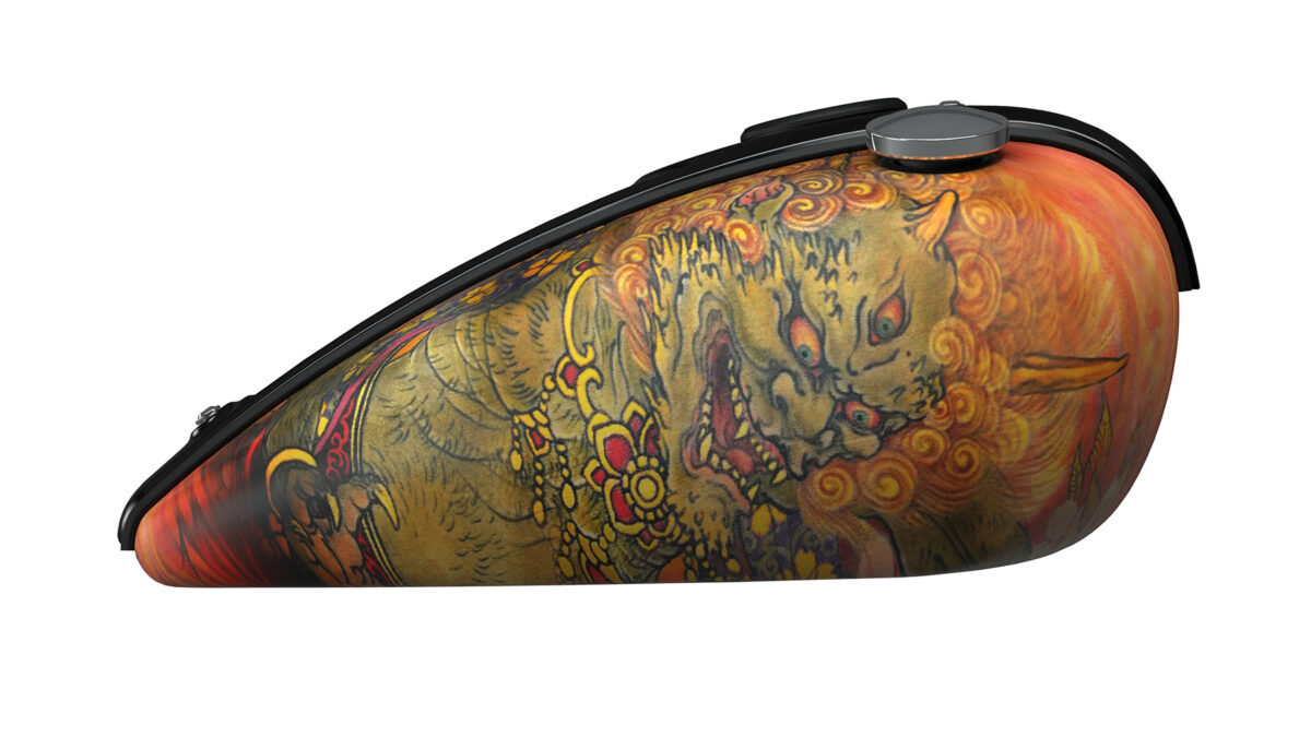 A close-up of the right side of the Indian Chief's Tank designed by Yokohama tattoo artist Shige
