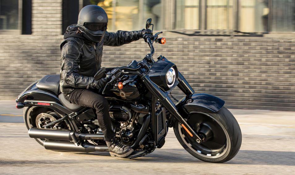 View of a rider enjoying a new Harley Davidson bike