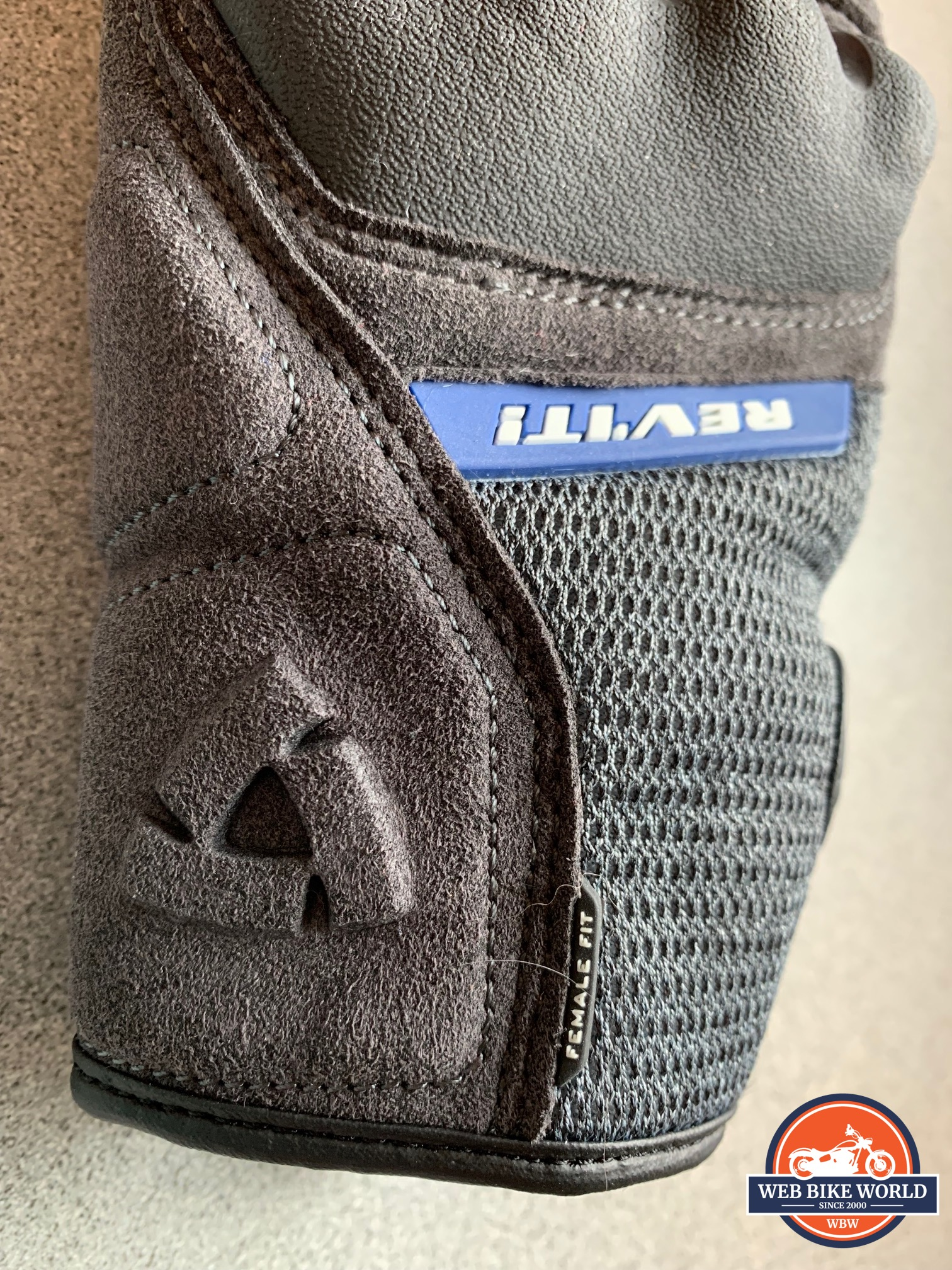 A view of the logo placement on the REV'IT! Volcano gloves