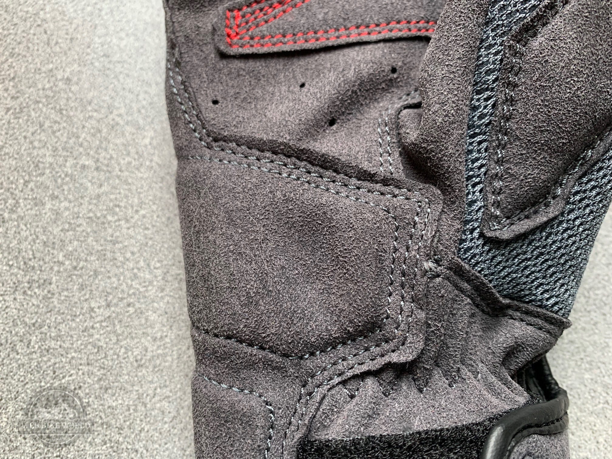 A view of the extra layer of suede on the REV'IT! Volcano gloves