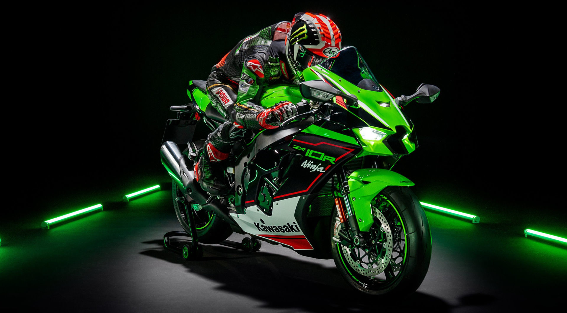 A view of a rider trying out a 2021 model of a Kawasaki ZX-10R
