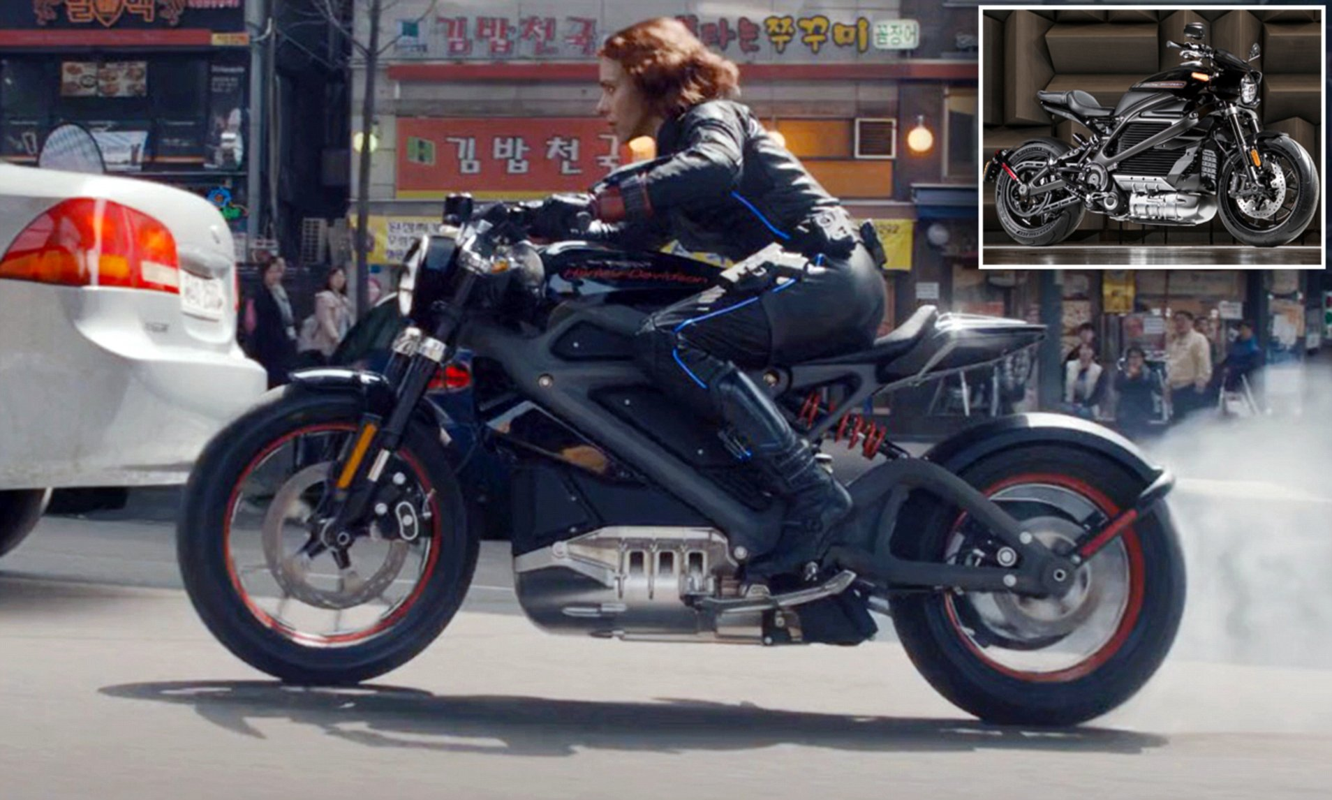 A view of Scarlett Johansen riding the H-D LiveWire One