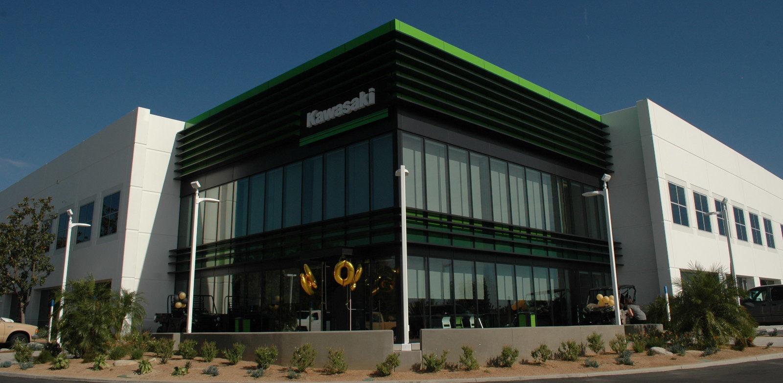 A view of a Kawasaki Motors building in the USA