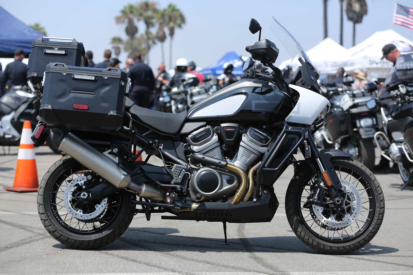 A view of the police edition of the H-D Pan America