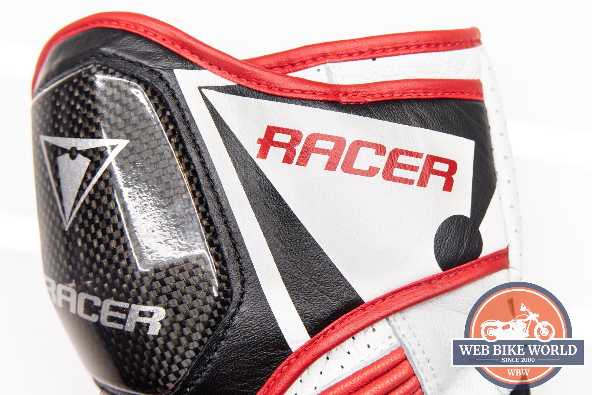 Racer logos on the gauntlet