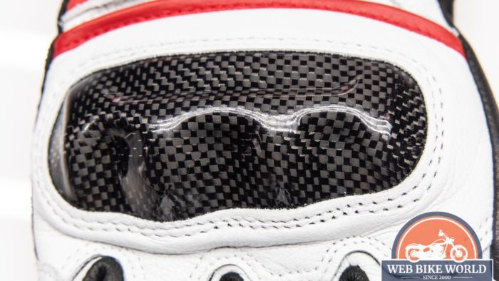 Carbon fibre knuckle protection on Hi Per gloves