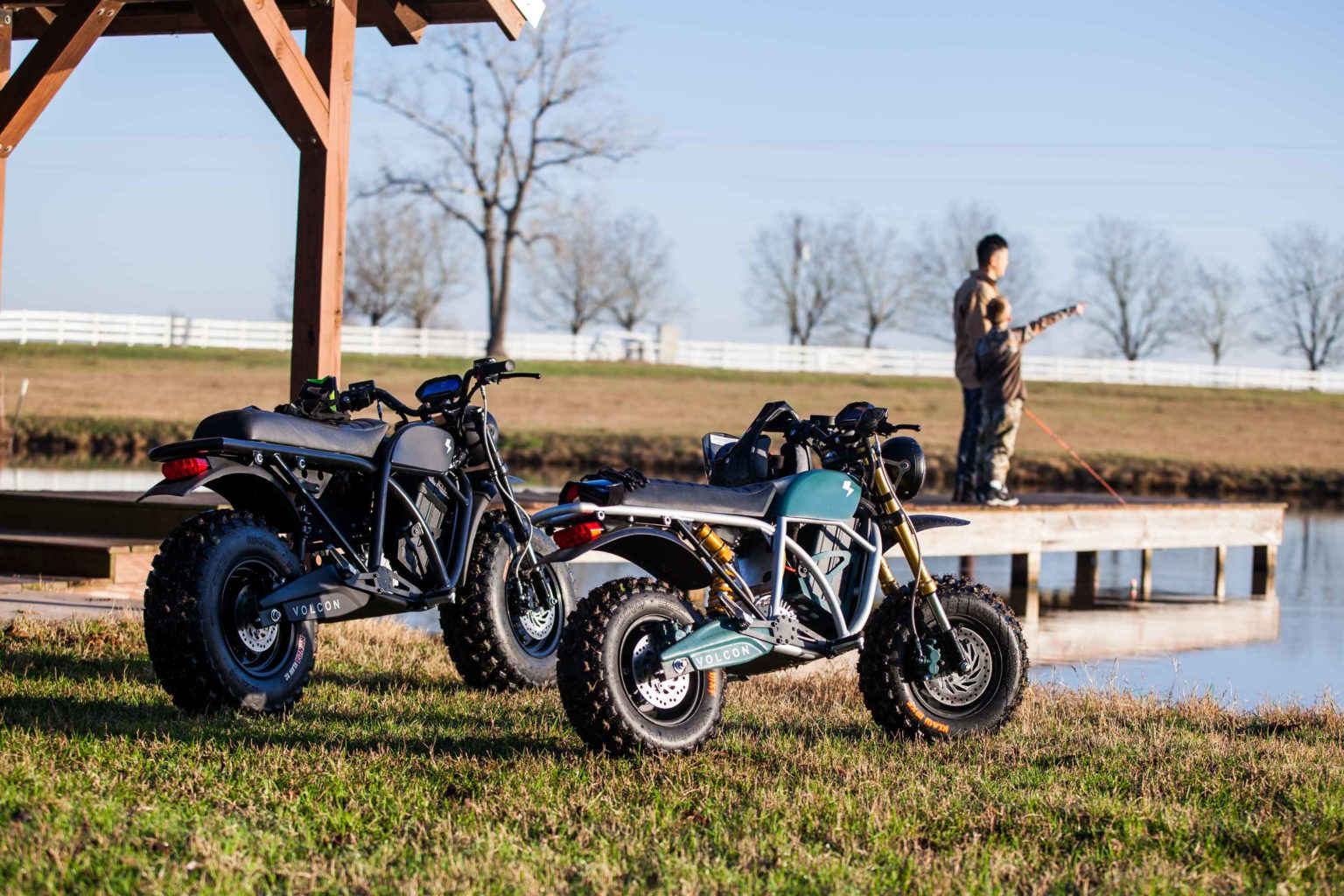 A side view of the Grunt and the Runt available from Volcon Powersports