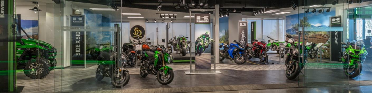 A view of a Kawasaki dealership