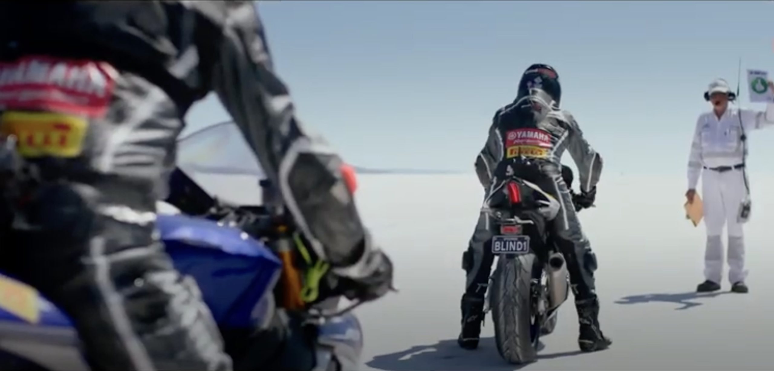 Ben Felton and former Grand Prix champion Kevin Magee about to cross the salt flats in pursuit of the world's fastest blind motorcyclist