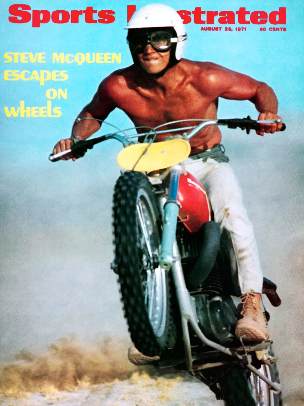 Steve McQueen on the front cover of the Sports Illustrated magazine, featuring his iconic Husqvarna 400 Cross Motorcycle