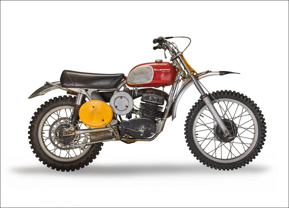 """A side view of the iconic 1971 Husqvarna 400 Cross, used by Steve McQueen in the movie hit, """"On Any Sunday"""""""