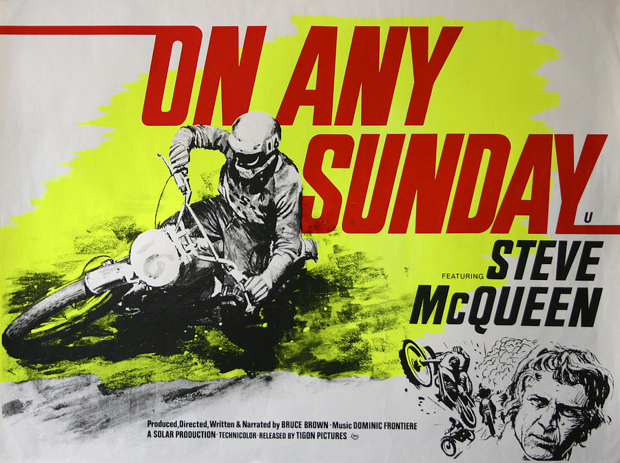 """A view of the poster connected to Steve McQueen's movie hit, """"On Any Sunday"""""""